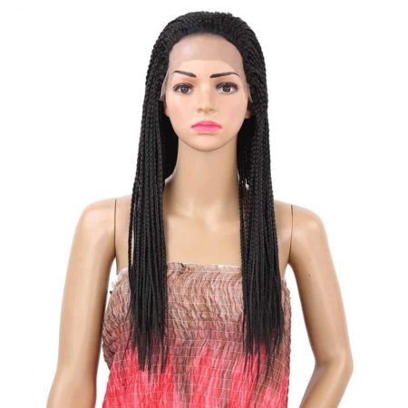 Box Braids Lace Wig Black Heat Resistant Synthetic Braided Lace Front Wig For Women (3)