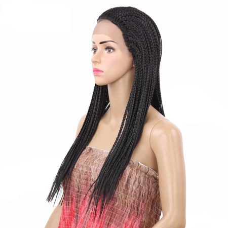 Box Braids Lace Wig Black Heat Resistant Synthetic Braided Lace Front Wig For Women (6)
