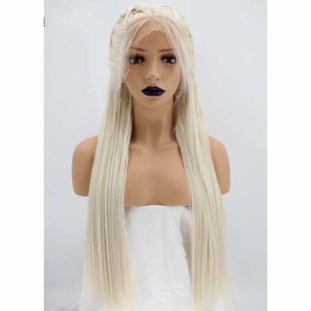 Braided Platinum Blonde Straight Synthetic Lace Front Wig With Baby Hair (5)