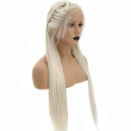 Braided Platinum Blonde Straight Synthetic Lace Front Wig With Baby Hair (6)
