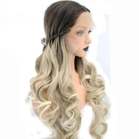 Braided Synthetic Lace Front Wig 2 Tones Ombre Blonde Hair Natural Long Wavy With Dark Roots (2)