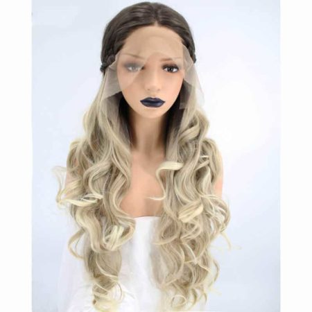 Braided Synthetic Lace Front Wig 2 Tones Ombre Blonde Hair Natural Long Wavy With Dark Roots (5)