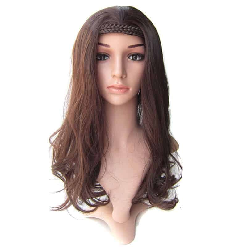 Braided Wigs With Headband Wavy Half Wigs Blonde Or Brown Or Black Synthetic Hairpieces (1)