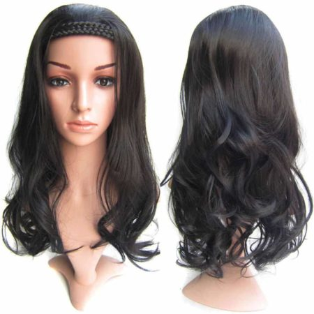 Braided Wigs With Headband Wavy Half Wigs Blonde Or Brown Or Black Synthetic Hairpieces (2)