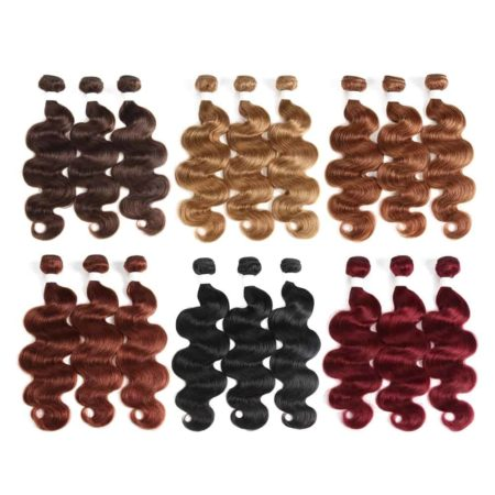 Brazilian 99J Burgundy Red Color Body Wave Human Hair Bundles With Lace Closure (5)