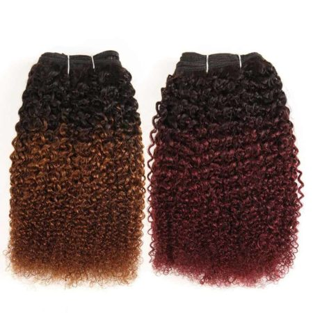 Brazilian Afro Kinky Curly Hair Weave 1 Bundle Ombre Human Hair #T1B-30 #33 99J Remy (1)