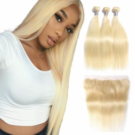 Brazilian Blonde Hair Extensions Straight Human Weave Bundles With Closure (2)