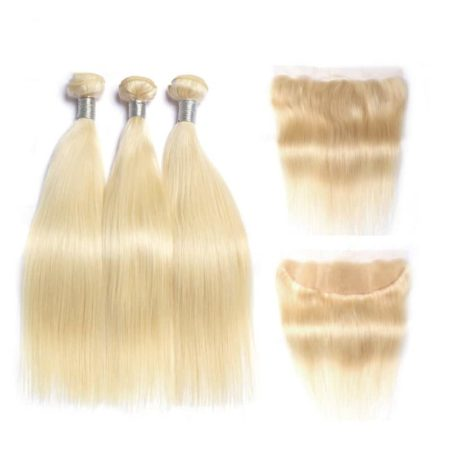 Brazilian Blonde Hair Extensions Straight Human Weave Bundles With Closure (3)