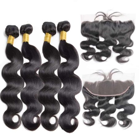 Brazilian Body Wave 4 Bundles Human Hair With Lace Frontal Closure (1)