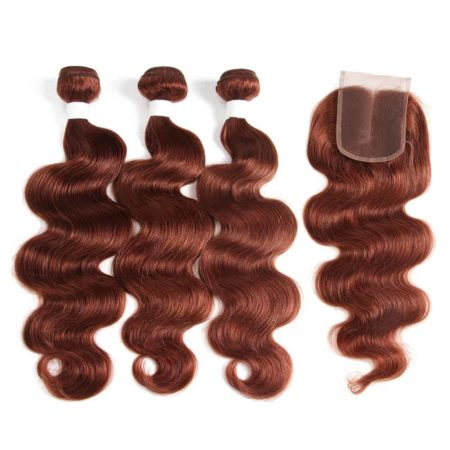 Brazilian Body Wave Brown Human Hair Weave Bundles With Closure (5)