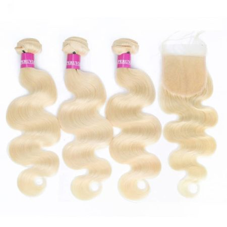 Brazilian Body Wave Hair 613 Blonde Bundles With Closure Remy Hair (5)
