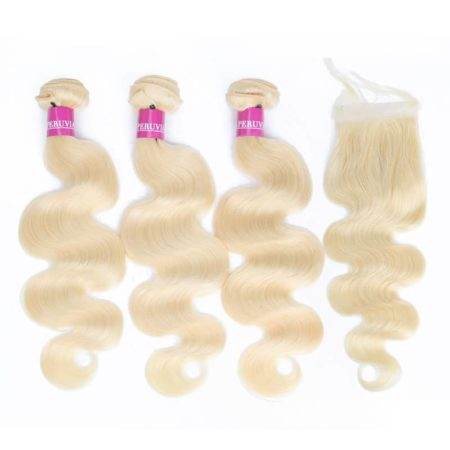 Brazilian Body Wave Hair 613 Blonde Bundles With Closure Remy Hair (6)