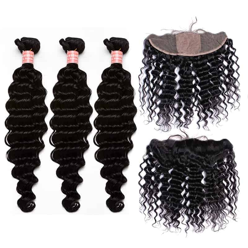 Brazilian Deep Wave 13x4 Silk Base Frontal With 3 Bundles Hair Weave Sale (1)