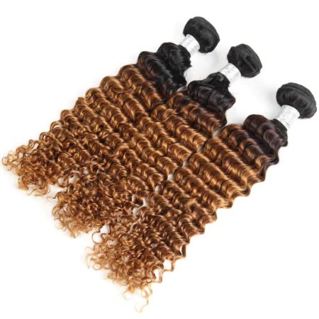 Brazilian Deep Wave 3 or 4 Pieces Ombre T1B 30 Two Tone 100% Human Hair Weave Bundles (3)