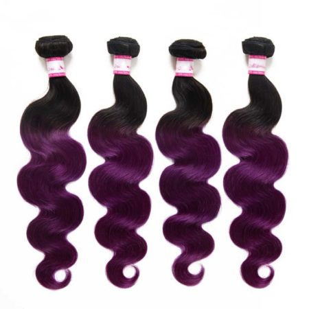 Brazilian Hair Body Wave Weaving Hair 3 Bundle With Closure 1B Purple Color 8-28 Inch (5)
