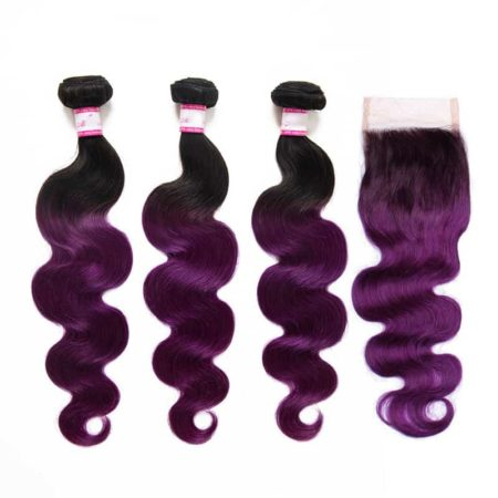 Brazilian Hair Body Wave Weaving Hair 3 Bundle With Closure 1B Purple Color 8-28 Inch (6)