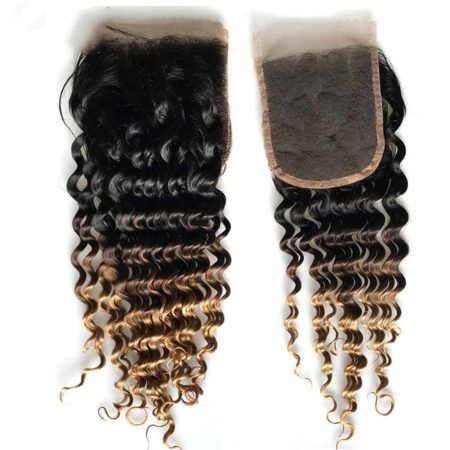 Brazilian Honey Blonde Deep Wave Ombre Human Hair Bundles With Closure (1)