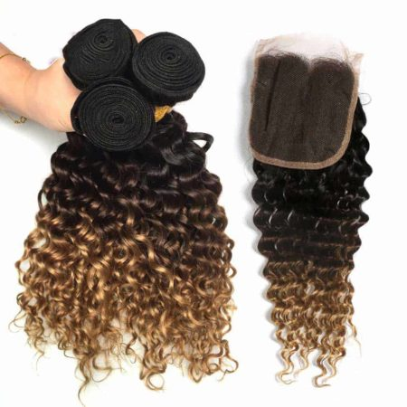 Brazilian Honey Blonde Deep Wave Ombre Human Hair Bundles With Closure (5)