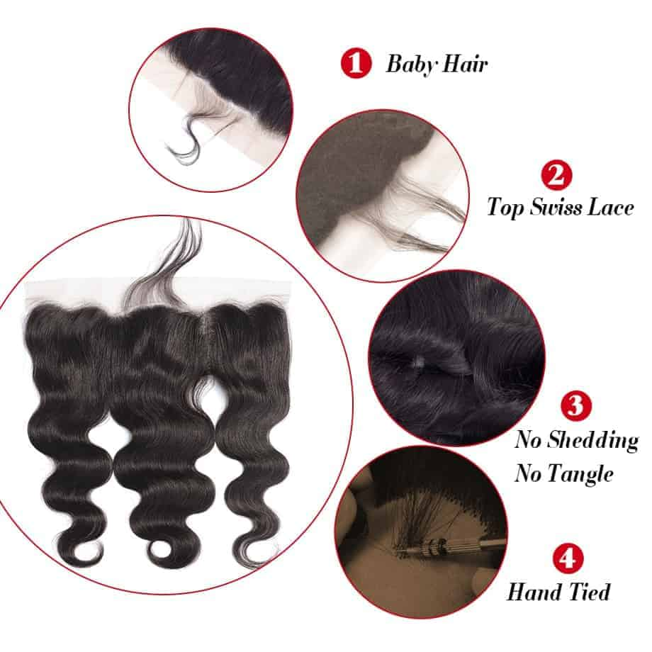 Brazilian Human Body Wave 13X6 Lace Frontal Closure With Baby Hair Ear To Ear (2)