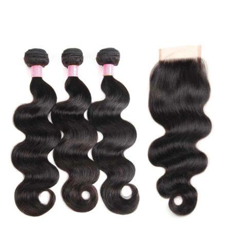 Brazilian Human Body Wave 3 Bundles With 4x4 Lace Closure Hair (3)