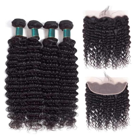 Brazilian Human Deep Wave Hair Bundles with Lace Frontal Remy Hair (1)