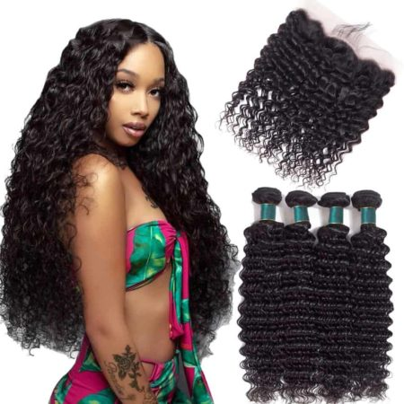 Brazilian Human Deep Wave Hair Bundles with Lace Frontal Remy Hair (5)