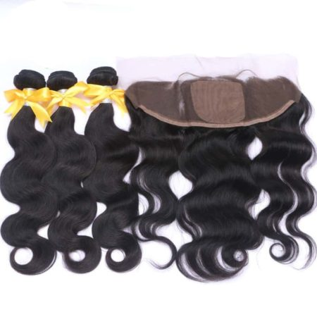 Brazilian Human Hair Body Wave Bundles With 13x4 Silk Base Lace Frontal Natural Color (1)