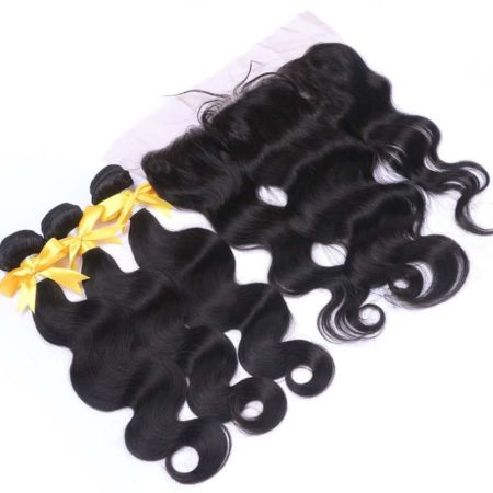Brazilian Human Hair Body Wave Bundles With 13x4 Silk Base Lace Frontal Natural Color (6)