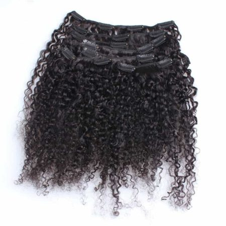 Brazilian Human Hair Extensions Clip In 3B 3C Kinky Curly Extensions Natural Black (5)