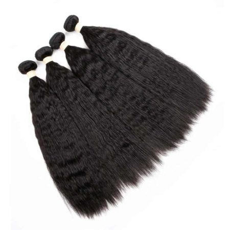 Brazilian Human Hair Kinky Straight Hair Weave 4 Bundles (4)