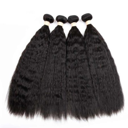 Brazilian Human Hair Kinky Straight Hair Weave 4 Bundles (5)