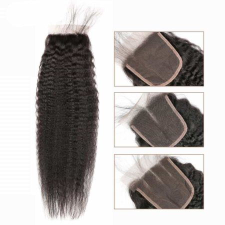 Brazilian Human Kinky Straight 5x5 Lace Closure Pre Plucked With Baby Hair (4)