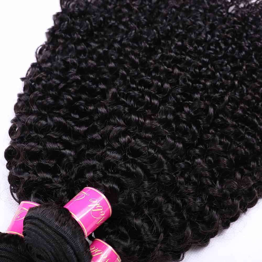 Brazilian Kinky Curly 100 Human Hair Bundles With Lace Closure Weaves (4)