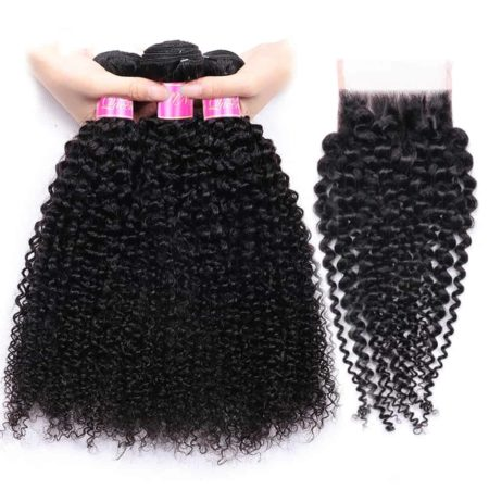 Brazilian Kinky Curly 100 Human Hair Bundles With Lace Closure Weaves (6)