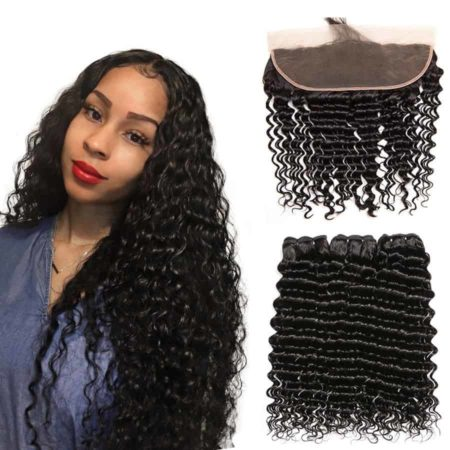 Brazilian Loose Deep Wave Hair Human Bundles With Frontal 13x4 Lace Frontal (1)