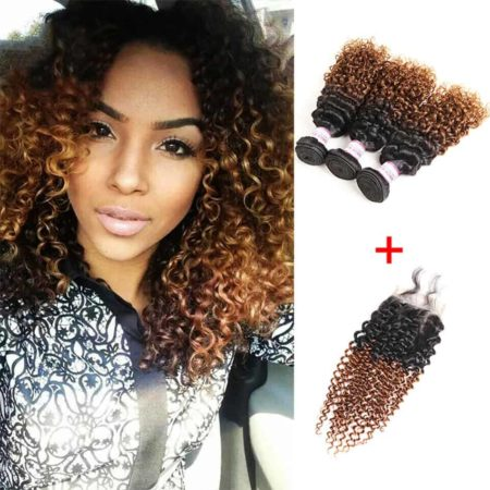 Brazilian Ombre 1B 30 Kinky Curly 3 or 4 Bundles With Closure Hair Piece (4)