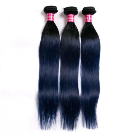 Brazilian Ombre Colored Straight Human Hair Bundles With Lace Closure 1b Blue Green Red (3)