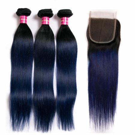Brazilian Ombre Colored Straight Human Hair Bundles With Lace Closure 1b Blue Green Red (5)