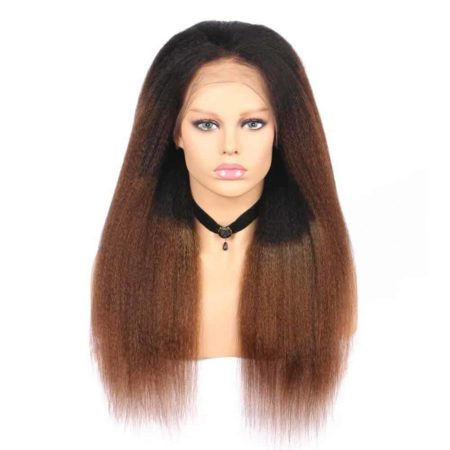 Brazilian Ombre Kinky Straight Hair 13X4 Lace Front Wigs Human 1B 30 Color (6)