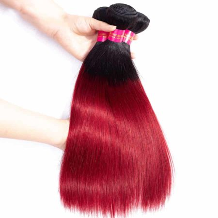 Brazilian Ombre Straight Hair 3 Bundles With Closure 1B Burg Burgundy (6)