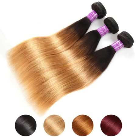 Brazilian Ombre Straight Hair Bundles T1B 27 Human Hair Weave (1)