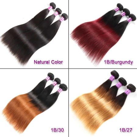 Brazilian Ombre Straight Hair Bundles T1B 27 Human Hair Weave (2)