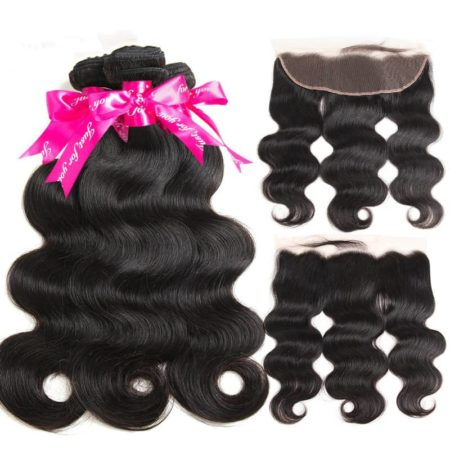Brazilian Remy Body Wave Human Hair Bundles With 13x4 Frontal Closure With Baby Hair (5)