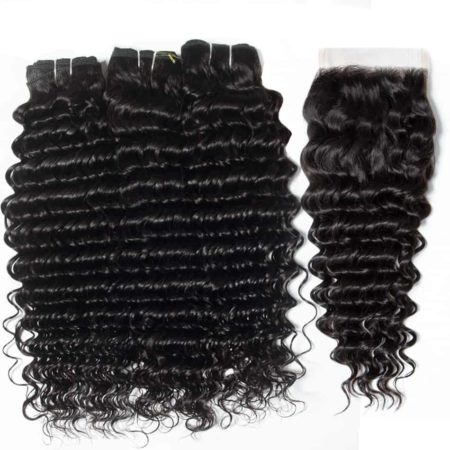 Brazilian Remy Human Hair Deep Wave Weave 3 Bundles With Closure (2)