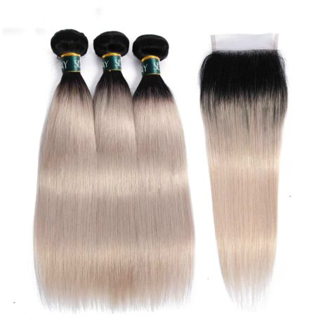 Brazilian Straight Ombre Bundles With Closure Human Hair Silver Grey (6)