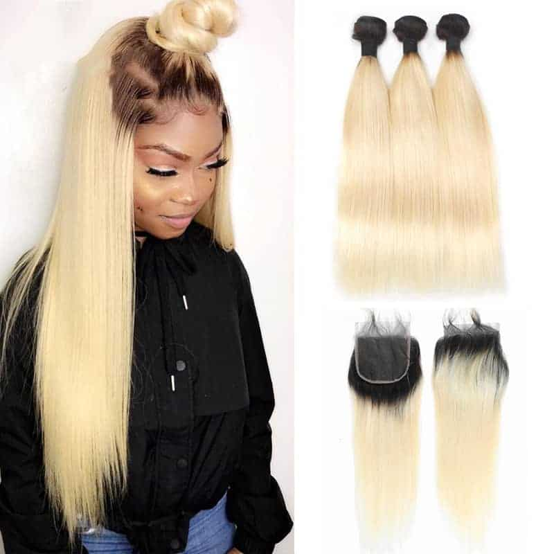 Brazilian Straight Remy Human Hair 3 Bundles with Lace Closure 1B 613 Honey Blonde Color (1)