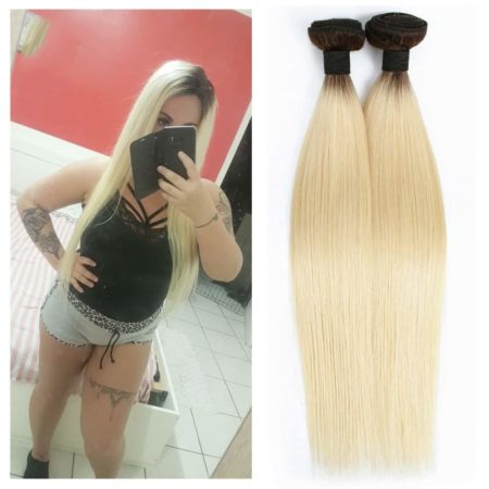 Brazilian Straight Straight Ombre T 1B 613 Platinum Blonde Bundles With Closure (5)