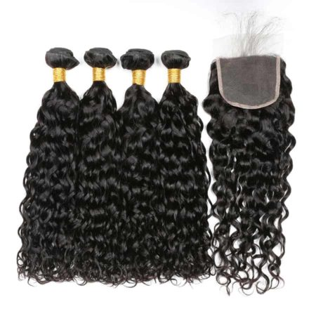 Brazilian Water Wave Human Hair 4 Bundles With Closure (1)