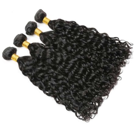 Brazilian Water Wave Human Hair 4 Bundles With Closure (3)