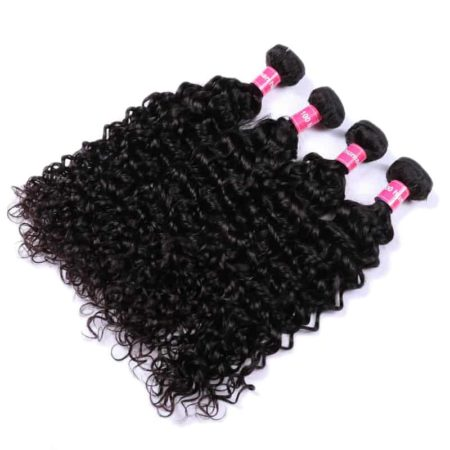 Brazilian Water Wave Human Hair Bundles With Lace Frontal closure (1)